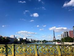Paris, mon amour  (krocheta) Tags: summer paris france beautiful eiffeltower bluesky ciel latoureiffel pont cielbleu laseine quaisdeseine summerinparis ladamedefer parismonamour
