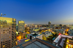 Downtown Los Angeles at night (Hamilton!) Tags: downtown los angeles downtownlosangeles skyline sony a7rii uwa lens
