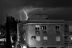 The house of Evil (The Whisperer of the Shadows) Tags: building edificio storm thunderstorm tormenta clouds nubes cielo sky rayo ray lightning blancoynegro blackandwhite byn bnw bw city ciudad urban urbana contraste contrast night noche