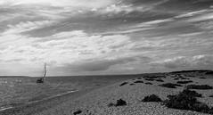 Stokes Bay (Chris A M) Tags: stokesbay gosport stokes bay hampshire sky clouds boats bw blackandwhite shoreline seascape seashore sea