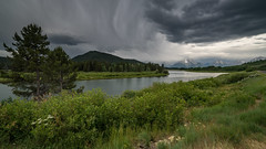 Oxbow Bend (Jeremy Duguid) Tags: park morning travel trees summer mountain lake storm mountains reflection nature clouds sunrise river rockies dawn landscapes flickr snake sony parks grand stormy jeremy mount national wyoming teton tetons moran duguid a7r2