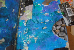 Reflections (Ulixis) Tags: blue white reflection art texture water collage clouds circle grey amber cool aqua paint purple pages turquoise wave sketchbook alteredbook layers ulixis