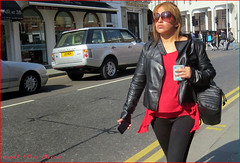 `1329 (roll the dice) Tags: life uk england people urban hot reflection sexy london art classic girl sunglasses weather fashion mobile shopping asian funny pretty sad phone natural candid streetphotography sunny stranger collection thai unknown brunette mad museums rangerover spandex pvc leggings unaware southkensington londonist kensingtonchelsea sw7