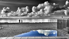 Caught in the Middle (Mark.L.Sutherland) Tags: sea sky people reflection beach water clouds puddle seaside south shingles streetphotography silhouettes cellphone samsung bluesky hampshire smartphone isleofwight solent portsmouth argument thesouth seafront phonecamera sutherland colorsplash android coloursplash southsea selectivecolour phonography caughtinthemiddle androidography galaxys5