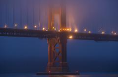 South Tower at Dawn (dcnelson1898) Tags: sanfrancisco california bridge fog dawn lights marin goldengatebridge goldengate fortpoint sanfranciscobay presidioofsanfrancisco