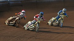 Speedway - Fighting for the lead (velton) Tags: bike sport race scotland track glasgow scottish dirt moto motorcycle velo speedway