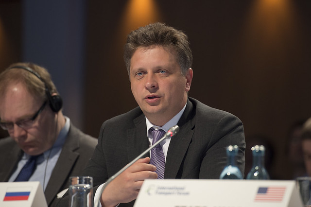 Maksim Sokolov speaking during the Open Ministerial Session