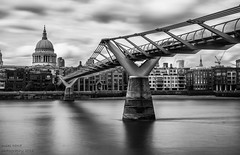St Pauls Cathedral (handmiles) Tags: mono monochrome blackandwhite bw london cathedral stpauls bridge river thames riverthames milleniumbridge span outdoor outside out longexposure movement reflections sony sonya77mark2 sonya77m2 tamron tamron18200mm nd filter nd1000 mileshandphotography2016