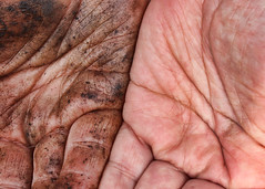 Helping Hands (Helen Orozco) Tags: opposites dirtyclean leftright canonrebelsl1 macromondays hands palms dirty clean