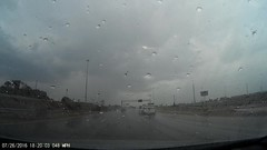 Car slams into barrier in rain on hwy 183 in Irving (07/26/2016 - 18:17:41) (RU5H21) Tags: accident car barrier drive driving rain dangerous