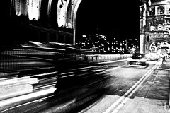 """Shapes"" (giannipaoloziliani) Tags: giannipaoloziliani graphics streetphoto nikond3200 nikon speed streetphotography urbannight headlights fari buildings horizon arc metropolis lights ponte londres photoart streetart urban urbanstreet street details perspective london bridge londra dark black notte traffic auto cars unitedkingdom citynightlife city monochrome blackandwhite shapes sagome forme night"
