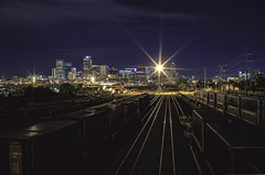Night Lines (Geometric Visuals) Tags: star stars industrial architecture lines denver train tracks sky clouds cloud long exposure longexposure cityscape