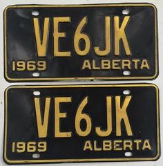 ALBERTA 1969 ---AMATEUR RADIO PLATE PAIR #VE6JK (woody1778a) Tags: alberta amateurradio licenseplate registrationplate canada alpca1778 npcc196 mycollection myhobby numberplate hamoperator