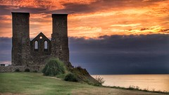 Reculver Towers (opshorton) Tags: southeast kent tamronlens 10stop longexposure manfrotto reculvertowers landscape seascape dusk grass sea orangesky canon7d canon stormcloud ruins reculver towers sky sunset