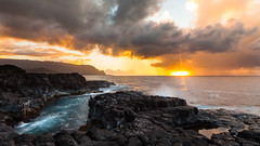 Watching Sunset (Lace Photos www.lacephotos.com) Tags: kauai hawaii queensbath man rock lavarock ocean waves seascape island sunset clouds dramatic