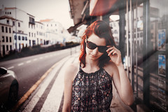 Kaika in Funchal (Joszhua) Tags: wwwjahpicturecom jahpicture people girl female model funchal madeira street fashion sunglasses glasses sun sunlight summer jumpsuit redhead redhair red hair rotes haar long joshuaahoffmann 55mm sony a7r