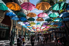 Floating sun shades - Port Louis, Mauritius [Explored 21-08-16] (Bon Espoir Photography) Tags: parasol sunshades umbrellas colourful light shade people portlouis city capital mauritius shops nikond750