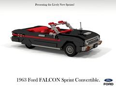 Ford 1963 Falcon Sprint Convertible (USA) (lego911) Tags: ford falcon 1963 sprint v8 convertible usa us america 1960s classic softtop auto car moc model miniland lego lego911 ldd render cad povray lugnuts challenge 107 saturday morning show n shine saturdaymorningshownshine foitsop