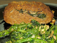 Spinach and mushroom stuffed meatloaf with garlicky broccoli rabe (Coyoty) Tags: food brown green mushroom colors bristol stuffed market bokeh connecticut ct broccoli meat deli garlic grocery meatloaf spinach rabe supernaturalmarket