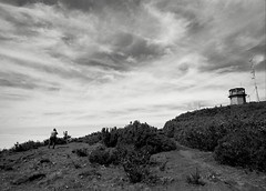 Sea of clouds I (p2-r2) Tags: sky blackandwhite orange mountains tower clouds rollei nikon power retro line filter 100 madeira fa nikkor20mmf4