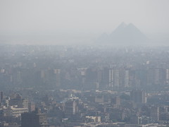 View against The pyramides from Cairo Tower!