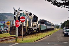 Locomotive clears the crossing 5 24 2015 (rbdal (Rick Dalrymple)) Tags: railroad oregon spring nikon historic oregoncoast touristattraction rockaway rockawaybeach gp9 tillamookcounty emdgp9 d7000 oregoncoastscenicrailroad