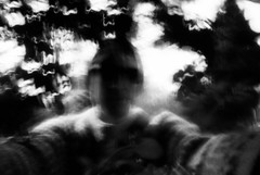Selfie in the bushes (nils_aksnes) Tags: blackandwhite bw glasgow pinhole ilford wppd worldwidepinholephotographyday ondu ondu135