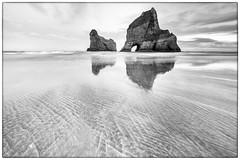 Wharariki High-key (Jaims Gibson APSNZ) Tags: seascape monochrome sand rocks waves wideangle wharariki jamesgibson