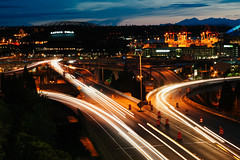 Jose Rizal Bridge (alexappugliesi) Tags: seattle city longexposure sunset usa cars lights washington highway lighttrails
