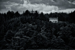 (rainbow wasabi) Tags: house woods trees forest sky clouds landscape monochrome blackandwhite oregon pacific northwest