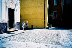 San Remo square trio (Stephen Dowling) Tags: travel summer italy film 35mm xpro lomography crossprocessed sanremo cosinacx2 agfact100precisa
