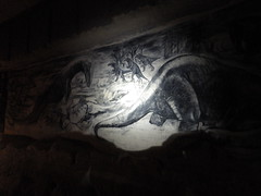 dinosaur mural in charcoal in the Saint Peter quarry (Martin Lopatka) Tags: maastricht netherlands nederland limburg nl cave art quarry old limestone underground subterranean caving sint peters sintpieter headlamp light charcoal sketch dinosaur