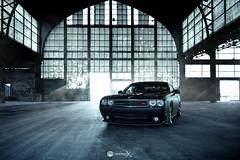 Bagged Dodge Challenger (Vroompix) Tags: dodge challenger bagged stance stanced matte black hangar abandoned automotive
