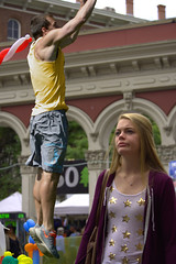 She's Not Impressed (swong95765) Tags: blonde woman female lady girl guy impress muscles man jump expression facial pretty jumping stars smirk