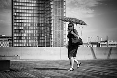 The lady and the Sunshade. (kitchou1 Thanx 4 UR Visits Coms+Faves.) Tags: art architecture bw cityscape et europe exterior france landscape nb nature paris people season sky street summer world saison