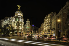 Gran via (Renato Di Prinzio Fotografa) Tags: city street travel night light europe urban architecture cars cityscape building espaa long spain madrid exposure calle noche nocturna photography coches exposicion avenida larga