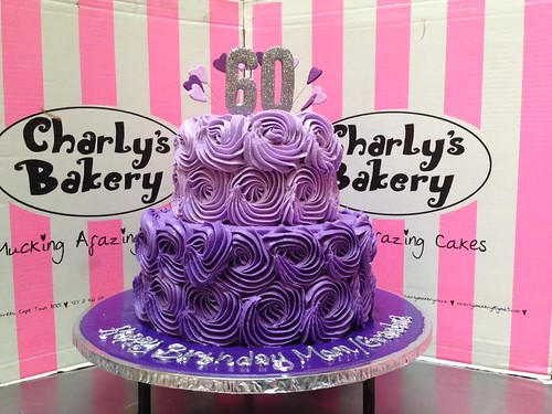 2 Tier Rose Swirl 60th Birthday Cake In Shades Of Purple With Silver Glittered