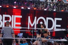 Tag team partners Diva's AJ Lee and Paige sit on ropes in ring (Eric Broder Van Dyke) Tags: california aj team wrestling tag paige ring lee sit ropes wwe partners divas wrestlemania 2015 ajlee levisstadium
