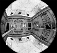 (paul messerschmidt (europe)) Tags: uk greatbritain summer england bw house distortion reflection building home monochrome square mono mirror hall conversion distorted interior main barrel wide entrance grand wideangle august surrey ceiling lookingup fisheye round inside mansion marble fullframe curved statelyhome nationaltrust 180° circular ewa 180degrees uwa palladian clandon 2011 westclandon twostorey 82011 clandonparkhouse film20113114