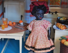 The Longview House Kitchen (Emily1957) Tags: light orange wool kitchen glass hat lines tin miniature lace colonial bisque kitlens naturallight velvet plastic 1950s marx hostess oranges orangejuice beret glasseyes dollhouse challah renwal blackdoll antiquedoll vintagedollhouse nikond40 miniaturekitchen renwalfurniture thelongviewhouse searsexclusivedollhouse