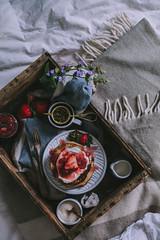 Goat Cheese Marscarpone Vanilla Bean Pancakes by Eva Kosmas Flores | Adventures in Cooking (Eva Kosmas Flores) Tags: cheese pancakes cinnamon goat bean whippedcream vanilla rhubarb mothersday breakfastinbed strawberrysyrup marscarpone