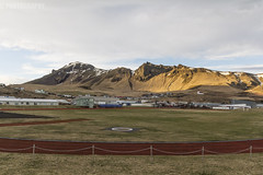 Vik Sports Ground (JoshJackson84) Tags: canon60d sigma18250mm europe iceland southerniceland vk vkmyrdal town sport running football mountains mountain sun evening