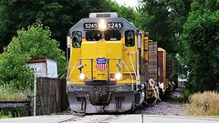 Union Pacific 5245 at Cherry Valley, IL (Laurence's Pictures) Tags: county street railroad chicago up rock river cherry illinois pacific general union rail railway running motors valley transportation northwestern rockford winnebago kd switching cnw linefreight