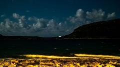 * (Timos L) Tags: leica longexposure sea west church night clouds lights waves nightshot hellas olympus panasonic greece handheld coastline seashore summilux omd peloponnese m43 2514 marathopolis micro43 em5ii timosl