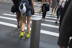 Silly Shoes (wwward0) Tags: cc colorful crosswalk crowd fidi financialdistrict manhattan nyc outdoor shoes sunny walking wwward0 newyork unitedstates us