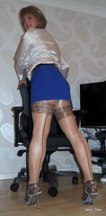 12 Standing room only (janegeetgirl2) Tags: transvestite crossdresser crossdressing tgirl tv ts heels sheer shine patterned tights office blue pa blouse secretary satin mini short skirt stilettos high jane gee