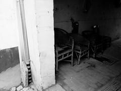 four chairs (-{ ThusOriginal }-) Tags: 2009 bw blackandwhite chair china digital grd3 grdiii monochrome people ricoh street suzhou thusihaveseen winter