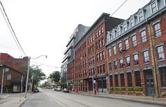Corner of Queen St. East & Mutual, Toronto 2016 (Howard258) Tags: queenstreeteast torontoontario 2016 downtowntoronto queenstreet streetview toronto buildings historic