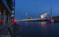 Imperial War Museum, Salford. 16th August 2016. (craigdouglassimpson) Tags: nightscenes bridges water manchestershipcanal imperialwarmuseum salfordquays greatermanchester england