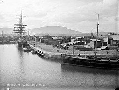 Docks & Cave Hill, Belfast (National Library of Ireland on The Commons) Tags: robertfrench williamlawrence lawrencecollection lawrencephotographicstudio thelawrencephotographcollection glassnegative nationallibraryofireland belfast docks cavehill ireland northernireland ulster timber coal stacked bangorcastle spencerdock